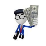 soldi della tenuta dell'uomo d'affari 3d Fotografia Stock
