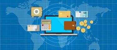 Soldi di applicazione di attività bancarie di Internet Fotografia Stock