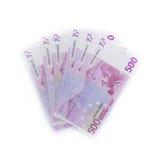 soldi di 500 banconote delle euro fatture gli euro Valuta dell'Unione Europea Fotografie Stock Libere da Diritti