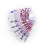 soldi di 500 banconote delle euro fatture gli euro Valuta dell'Unione Europea Fotografia Stock Libera da Diritti