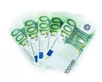 soldi di 100 banconote delle euro fatture gli euro Valuta dell'Unione Europea Fotografia Stock Libera da Diritti
