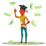 Soldi di caduta sullo studente sorridente In Graduate Cap con il vettore del diploma Illustrazione isolata illustrazione di stock