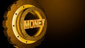 Soldi di parola in ingranaggio del metallo 3D nel colore dell'oro, concetto di affari illustrazione di stock