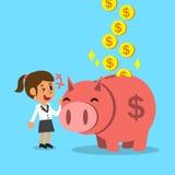 Soldi di risparmio della donna di affari del fumetto con il porcellino rosa Fotografia Stock