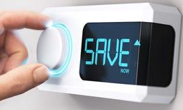 Soldi di risparmio; Faccia diminuire il consumo di energia fotografie stock