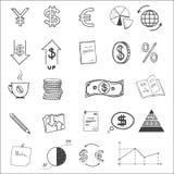 Soldi di schizzo di scarabocchio di finanza di affari di tiraggio della mano royalty illustrazione gratis