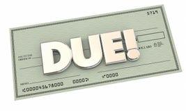Soldi dovuti Bill Collection di pagamento del controllo Immagini Stock