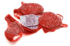 Soldi e biancheria intima rossa Fotografie Stock