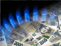 Soldi e bruciatore a gas immagini stock libere da diritti