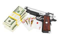 Soldi e carte da gioco della pistola Immagine Stock Libera da Diritti
