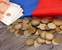 Soldi e la bandiera russa Immagine Stock Libera da Diritti