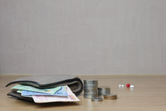 Soldi e medicina Fotografia Stock