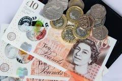 Soldi e monete inglesi Fotografia Stock Libera da Diritti