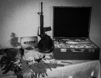 Soldi e pistola della valigia Fotografie Stock Libere da Diritti
