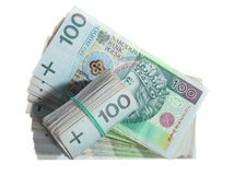 Soldi e risparmio. Pila di banconote di zloty della lucidatura 100's Fotografie Stock