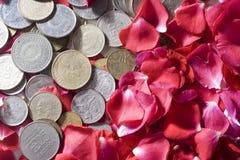 Soldi e rose Fotografia Stock Libera da Diritti