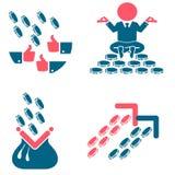 Soldi ed icone piane di successo Royalty Illustrazione gratis