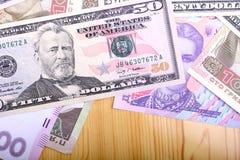 Soldi europei e dollari americani Fotografia Stock Libera da Diritti