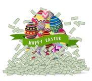 Soldi felici della montagna delle uova di Pasqua Fotografia Stock