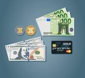 Soldi freschi messi con i bitcoins dell'euro dei dollari Fotografia Stock Libera da Diritti