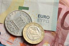 Soldi greci ed euro Immagine Stock Libera da Diritti