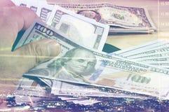 Soldi mensili di pianificazione e di risparmio per finanza di affari di spesa ed il concetto di prestito Fotografie Stock
