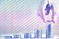 Soldi mensili di pianificazione e di risparmio per finanza di affari di spesa ed il concetto di prestito Immagini Stock Libere da Diritti