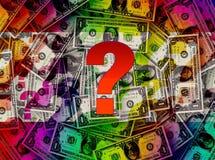 soldi, molti dollari e un grande punto interrogativo Fotografia Stock Libera da Diritti