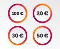 Soldi nelle euro icone Cento, cinquanta EUR Fotografia Stock Libera da Diritti