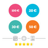 Soldi nelle euro icone Cento, cinquanta EUR Fotografia Stock