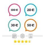 Soldi nelle euro icone Cento, cinquanta EUR Fotografie Stock
