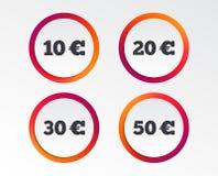 Soldi nelle euro icone Dieci, venti, cinquanta EUR Fotografia Stock Libera da Diritti