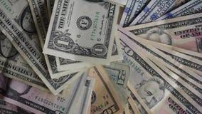 Soldi Note di valuta di U.S.A., dollari di ogni primo piano gentile video d archivio
