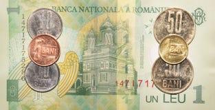 Soldi rumeni: 1 leu fotografia stock libera da diritti