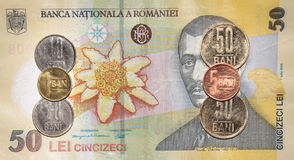 Soldi rumeni: 50 leu fotografia stock libera da diritti
