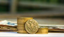 Soldi russi antichi, vecchie monete, tesoro Fotografia Stock Libera da Diritti