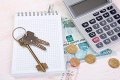 Soldi russi, chiave e calcolatore Concetto 6 del bene immobile Fotografia Stock