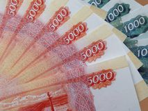 Soldi russi con un valore nominale di 5000 rubli Fotografie Stock