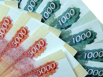 Soldi russi con un valore nominale di 5000 rubli Fotografia Stock