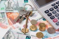 Soldi russi e chiave Fotografie Stock