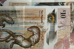 Soldi scozzesi Una banconota da dieci libbre fotografia stock