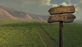 Soldi soldi di direzione del segno Immagine Stock