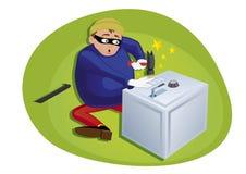 soldi steeling del ladro dalla cassaforte di obbligazione royalty illustrazione gratis