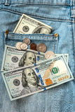 Soldi sui jeans Immagine Stock Libera da Diritti