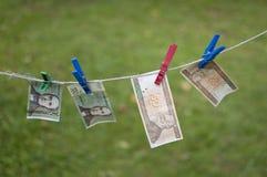 Soldi sul clothesline Immagine Stock Libera da Diritti