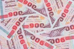Soldi tailandesi, 100 banconote di baht per i concetti dei soldi Fotografie Stock Libere da Diritti