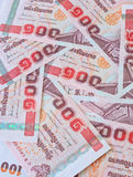 Soldi tailandesi, 100 banconote di baht per i concetti dei soldi Fotografia Stock Libera da Diritti