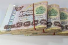 Soldi tailandesi, 1000 banconote di baht su fondo bianco Fotografie Stock Libere da Diritti
