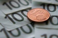 Soldi un euro del centesimo fotografie stock libere da diritti
