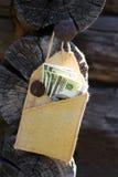 Soldi in una busta sull'albero Fotografia Stock Libera da Diritti
